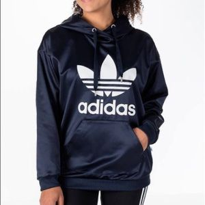 adidas Tops - Adidas Navy Satin Trefoil Hoodie size Small NWT